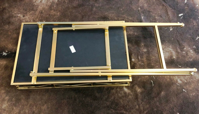 Folding Coffee Table Rectangle with Black Glass 2207-5