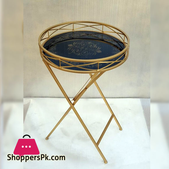 Folding Coffee Table Round Black Glass Top