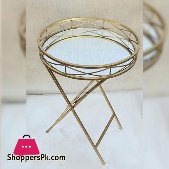 Folding Coffee Table Round Mirror Top