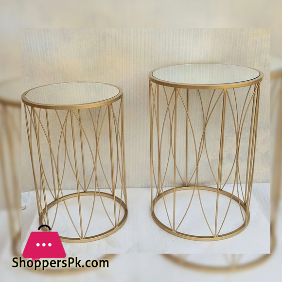 Gold Mirrored Pedestal Table Set of 2