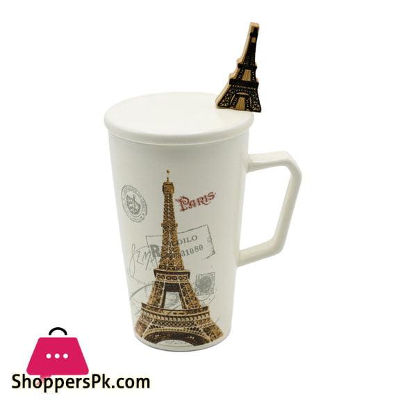 High Quality Ceramic I Love Paris Mug With Spoon One Piece