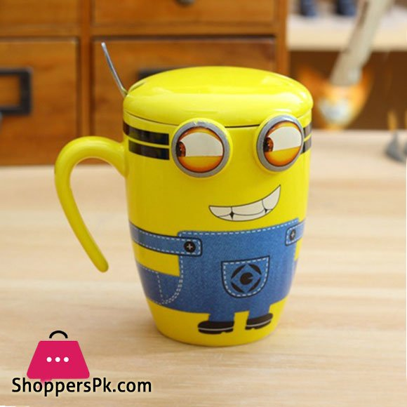 High Quality Ceramic Minion Mug With Spoon One Piece