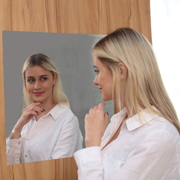 Mirror Wall Sticker Rectangle Self Adhesive Room Decor Stick On Art Sticker Mirror Art Design Mural Poster Home Decor Size 50 x 100 cm