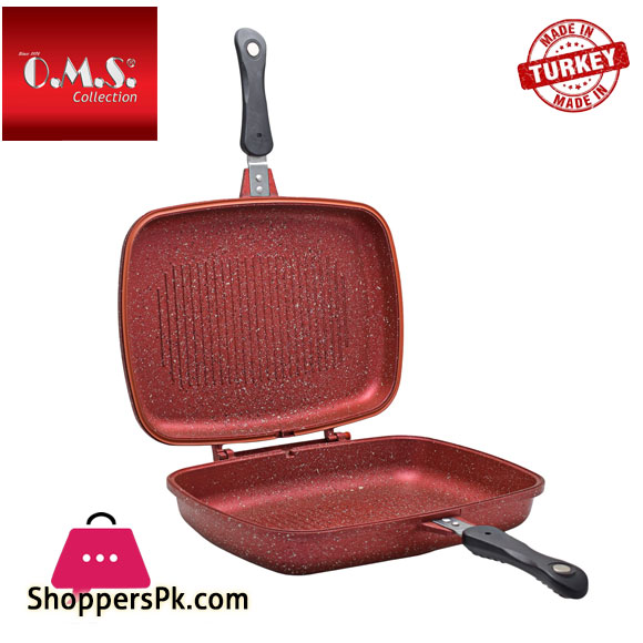 O.M.S Granite Double Sided Grill Pan 32-CM Turkey Made