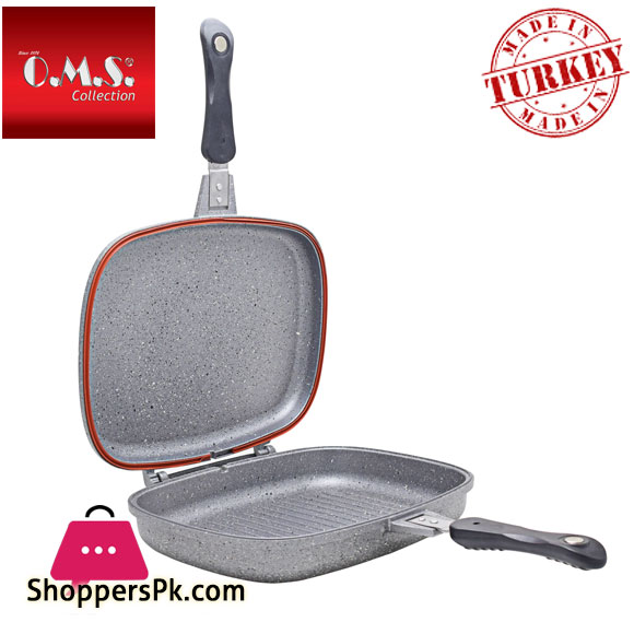 O.M.S Granite Double Sided Grill Pan 36-CM Turkey Made