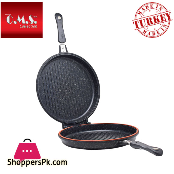 O.M.S Granite Double Sided Grill Pan Round 32-CM Turkey Made
