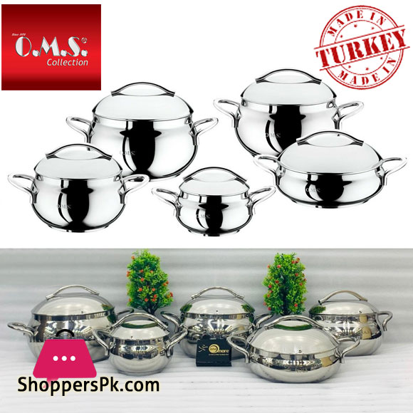 O.M.S Stainless Steel Commercial Professional Cookware Stock Pot Set 10 Piece Set 1008 Turkey Made