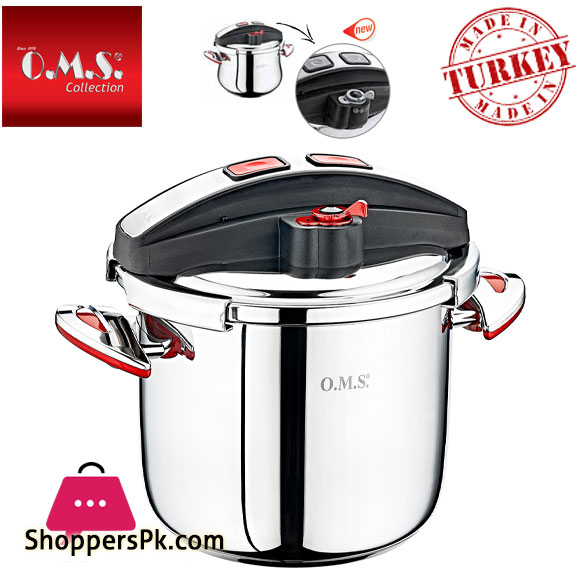 OMS, Stainless Steel Matic Pressure Cooker Button Lock 9 Liter Turkey Made