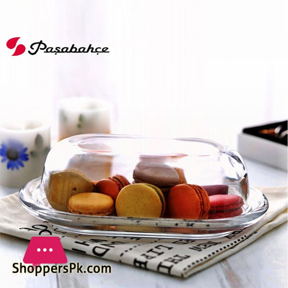 Pasabahce Glass Butter Dish With Lid Clear Glass Turkey Made