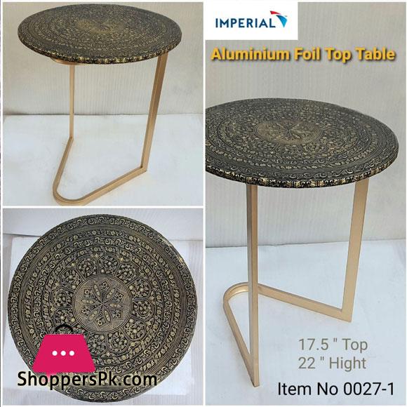 Rod Iron Aluminium Foil Top Table 17.5 Inch Diameter Height 22