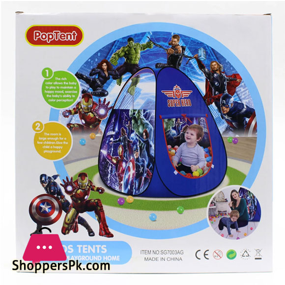 Super Heros Play Ball House Tent With 50 Soft Balls