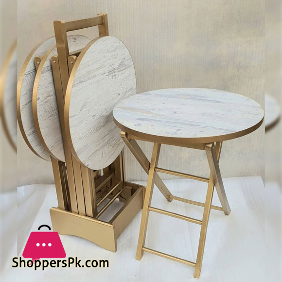 Wood Round Nesting Table with Stand - Set of 4