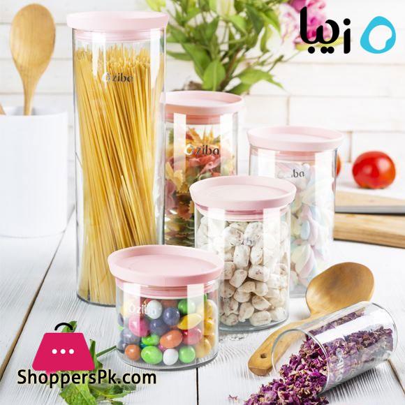 Zibasazan Glass Jar Hiva Spice Jar with Airtight Plastic Lid Iran Made - ( Set of 3 )