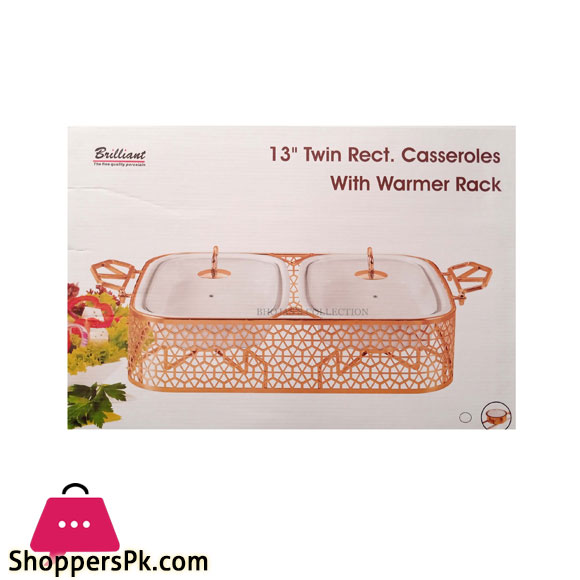 BR16002 Rose Gold TWIN 13 inch Rectangle Casserole