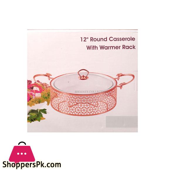 BR16004 Rose Golden 12 inch ROUND Casserole