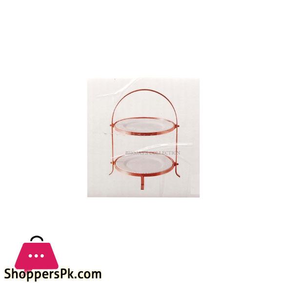 BR16006 Rose Golden 2 Piece 10 inch ROUND PLATES + STAND 4c
