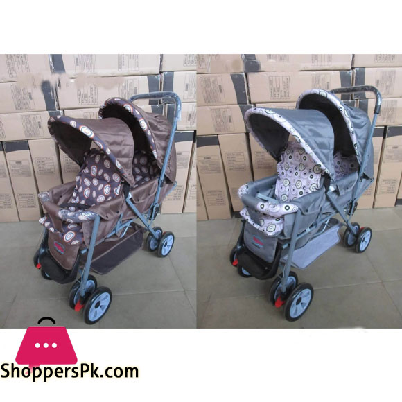 Folding Double 2 Seat Twins Baby Trolley Front And Back Tandem Stroller