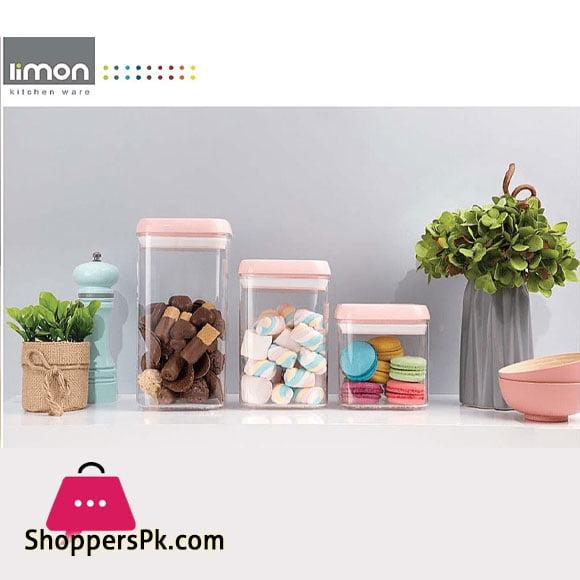 Limon Acrylic Plastic Airtight Jar Set of 3 Iran Made