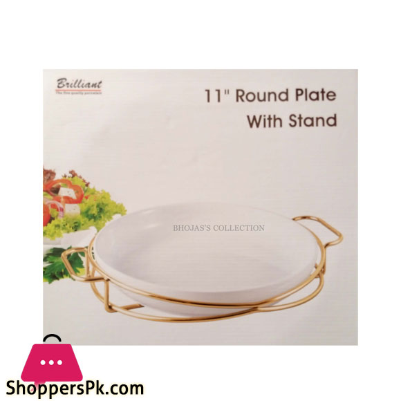 BR16015 Golden 11 INCH ROUND PLATE WITH STAND