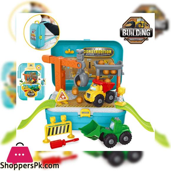 Construction Building Trucks Toys Set Take Apart Toys in Backpack Bag