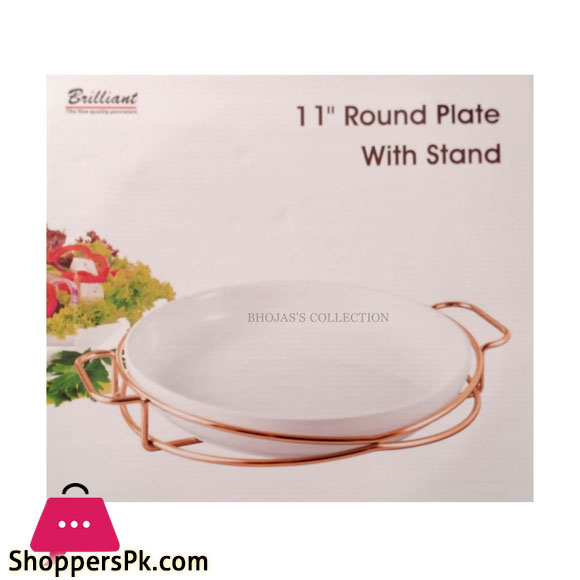 BR16015 Rose Golden 11 INCH ROUND PLATE WITH STAND