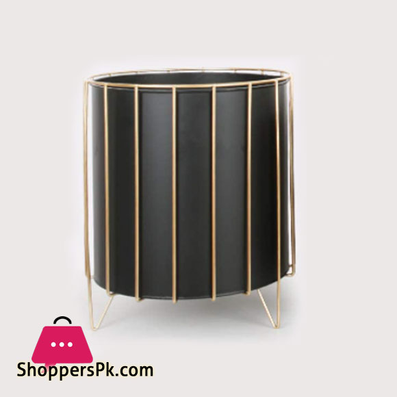 Ascent Black Plant Pot with Gold Metal Wire Based Planter Stand, Metal Plant Stand for Medium to Large Plants Indoor Outdoor, Sturdy Standing Plant Pot12 x 8 Inch