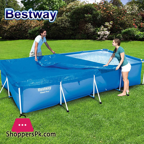 Bestway Flowclear Pro Rectangular Swimming Pool Cover with Tie-down Ropes - 58107