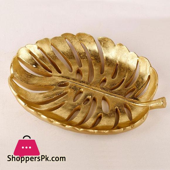 Golden Leaf Design Plate 12 x 12 Inch