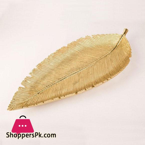 Golden Leaf Design Plate 14 x 6 Inch