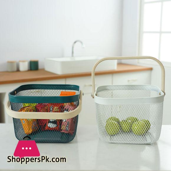 Kitchen Organizer Metal Wire Mesh Fruit Storage Basket with Wooden HandleSmall