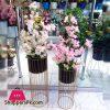 Metal Brass Plantar Stand with Flower Arrangement Size 3.5 Feet