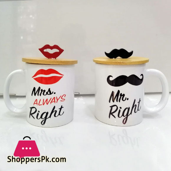 Mr. Right & Mrs. Always Right Mug with Lid (Pack of 2)