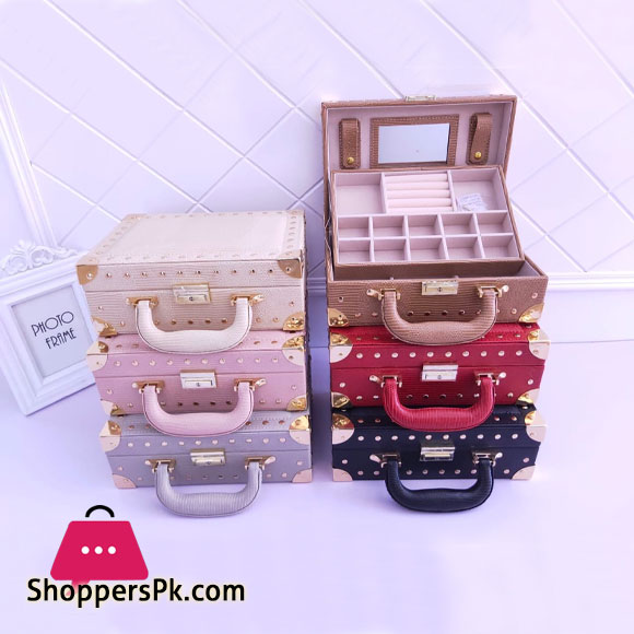 Multifunctional Two-Layer Woven Leather Jewellery Box Organizer with Handle