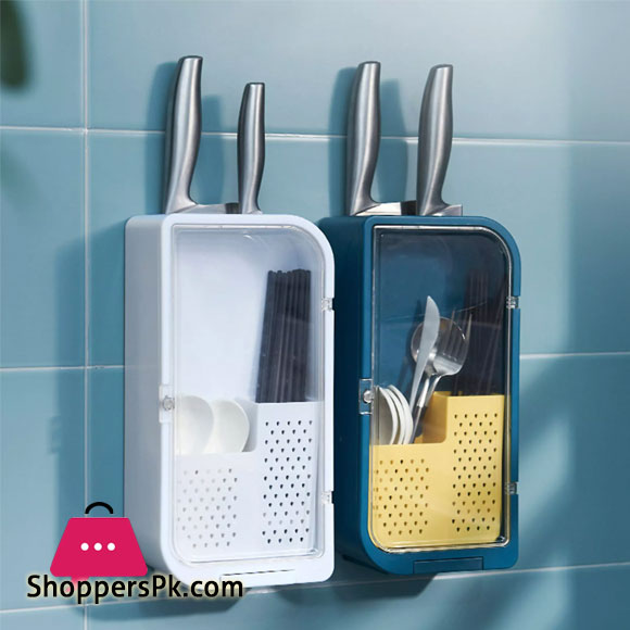 Wall Mount Kitchen Drain Fork Knife Spoon Cage Holder Storage Rack