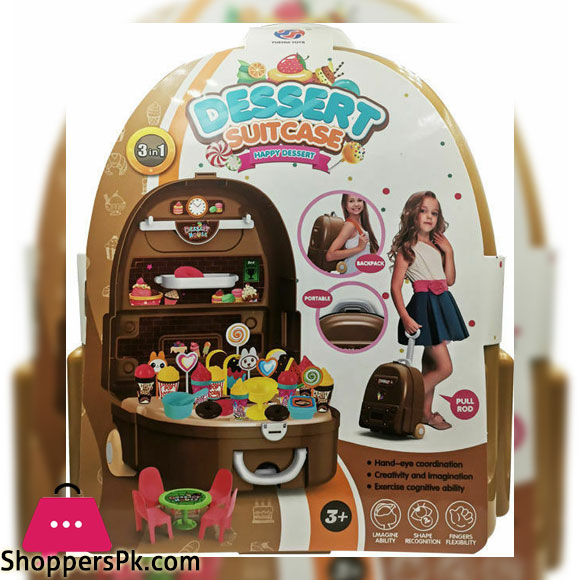 3-in-1 Playing Travel Dessert Suitcase Toy for Children
