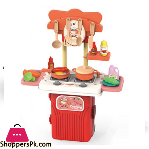 CHILDREN PLAY KITCHEN IN A SUITCASE STALL ON WHEELS