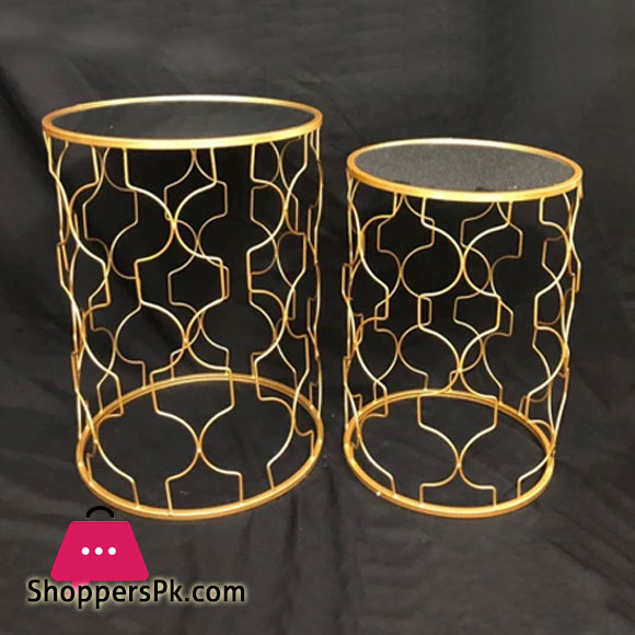 Luxurious Gold Iron Art Coffee Table Home Decoration ( Set of 2 )