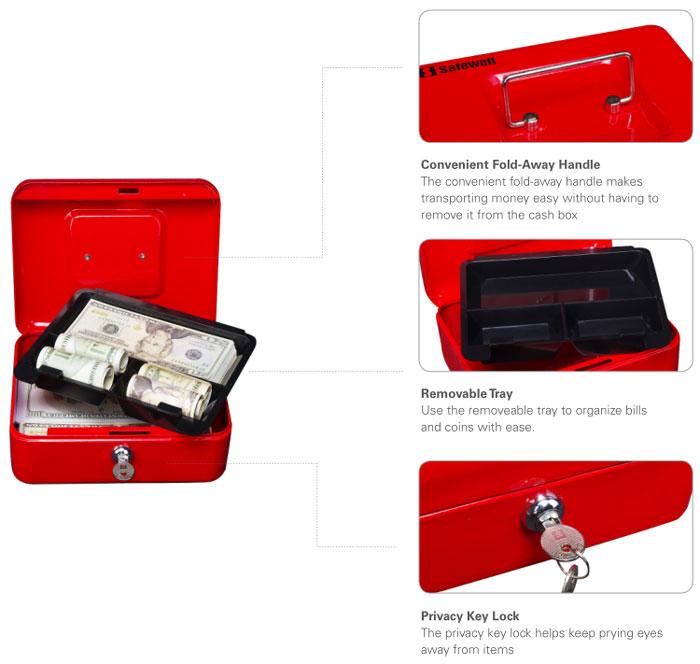 Safewell Mini Steel Portable Metal Cash Box - YFC-30