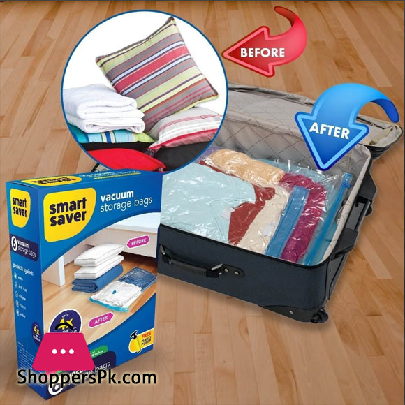 Smart Saver Reusable Ziplock Space Saver Bags for Clothes Comforters Blankets Pillows Bedding Packing with Hand Pump for Travel 6 Bags ( 110 x 80 ) CM