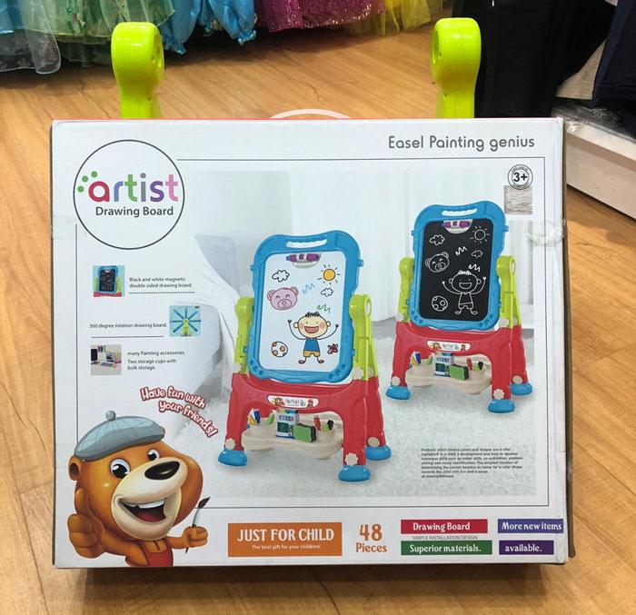 Artist Drawing Board Double Sided Standing Art Easel - Dry-Erase Board & Chalkboard 48 Pcs