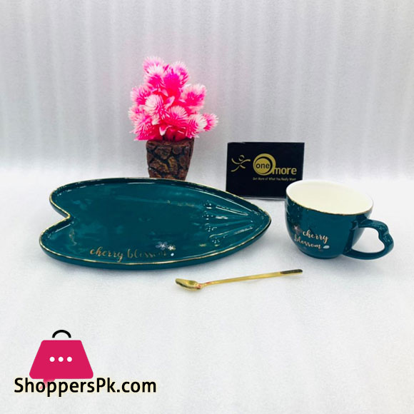 Cherry Blossom Heart Shape Cup Saucer with Spoon