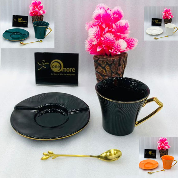 Creative Gold Rim Cup and Saucer with Gold Spoon
