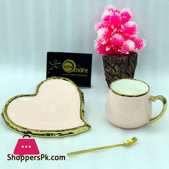 Heart Tea Cup & Saucer Gold Rim with Spoon