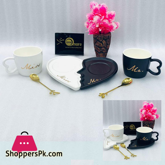 Mr Mrs Black & White Cup Saucer with Spoon