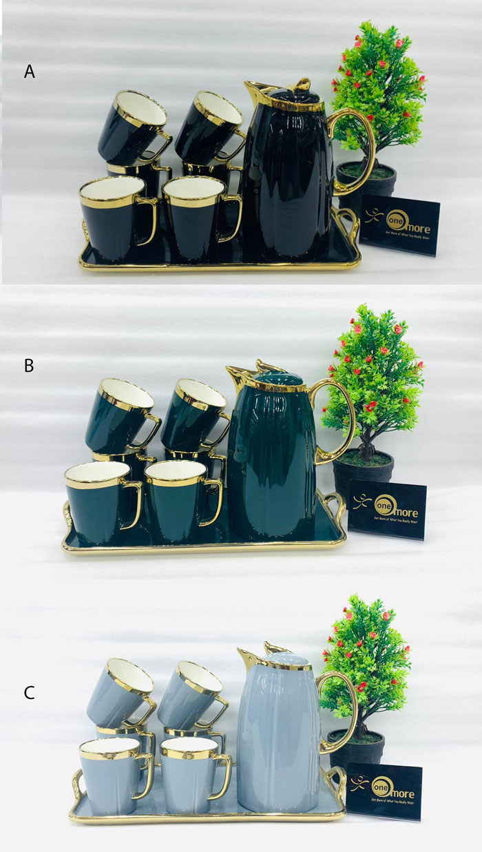 ONE MORE Ceramic 6 Cups +1 Kettle +1 Tray Tea Set For Drinkware - 006-40
