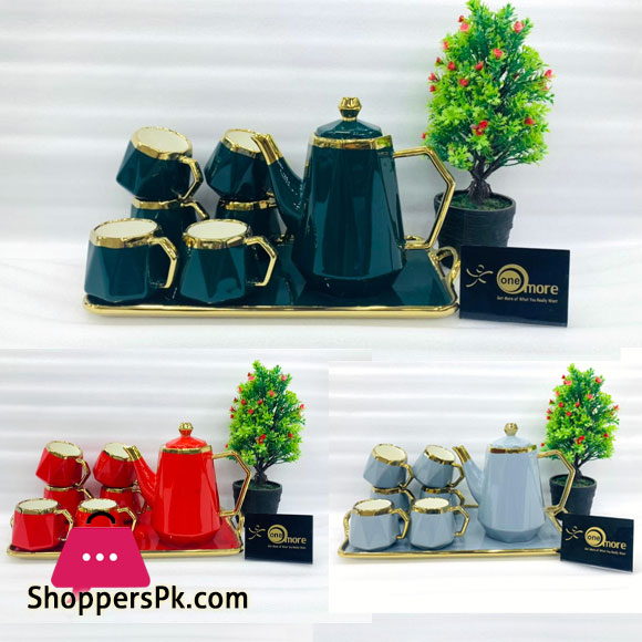 ONE MORE Ceramic 6 Cups +1 Kettle +1 Tray Tea Set For Drinkware - Cut Diamond