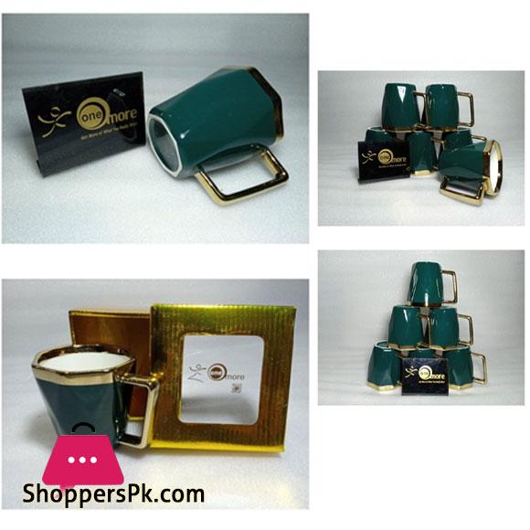 ONE MORE Ceramic Gold Rim Diamond Mug - 1 Pcs