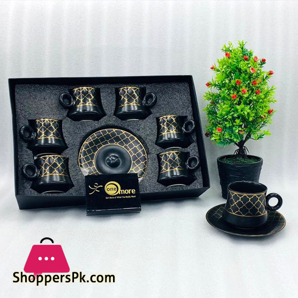 One More Turkish Style Set of 6 Pcs Tea Cups and Saucers
