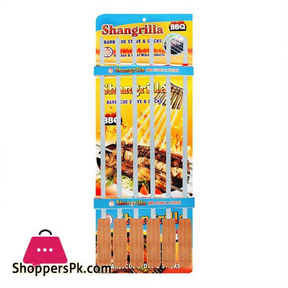 Shangrilla Stainless Steel BBQ Stick Plain Slim 6 Pcs