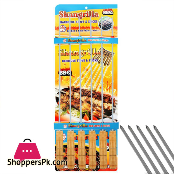 Shangrilla Stainless Steel Square BBQ Stick 6 Pcs
